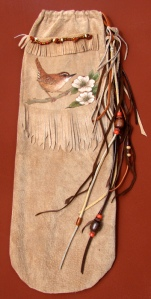 Leather Native American flute bag by Orchid Davis