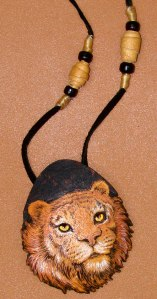 woodburned gourd tiger necklace