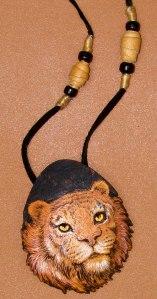 woodburned gourd tiger necklace