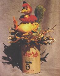 humorous bird carving