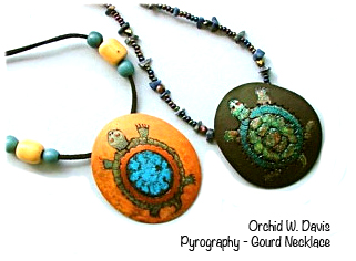 gourd necklaces with pyrography and painting by Orchid W Davis